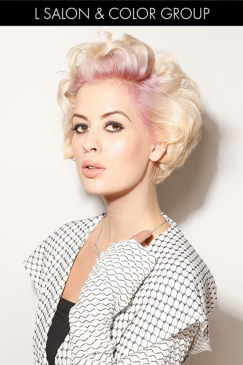 Blonde Haircolor with Pink Color at Scalp