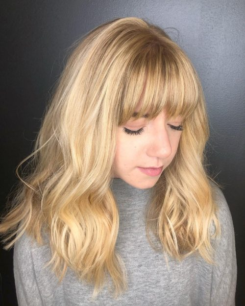 Image result for golden hair with bangs
