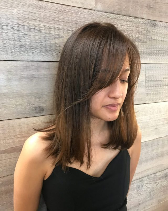 side-swept bangs: 46 ideas that are hot in 2019