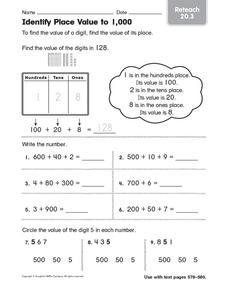 Identify Place Value to 1,000: Reteach 3rd - 4th Grade ...