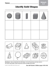 Identify Solid Shapes 4 1st - 2nd Grade Worksheet   Lesson ...