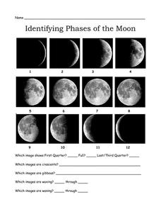 Identifying Phases of the Moon 3rd - 7th Grade Worksheet ...