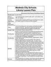 Online Public Access Catalog 4th Grade Lesson Plan ...