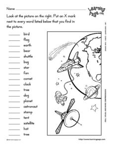 Space Visual and Word Comprehension 1st Grade Worksheet