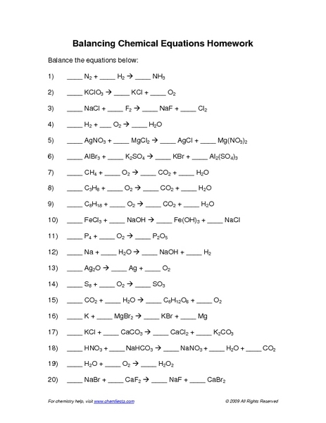 Balancing Chemical Equations Worksheet Answers - Tecnologialinstante