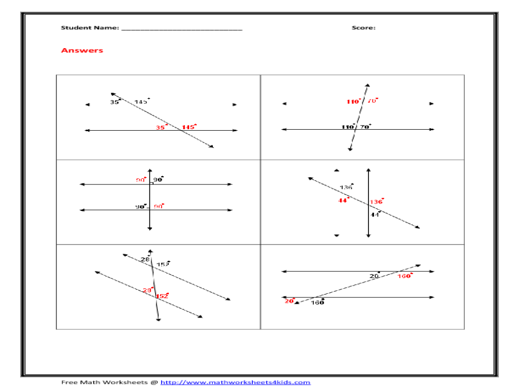 32 Angles In Transversal Worksheet Answers