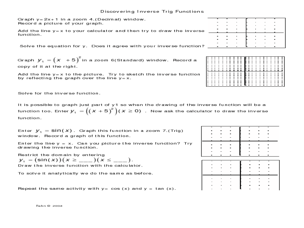 Worksheets Inverse Trigonometric Functions Worksheet graphing trig functions worksheet free worksheets library download functi s w ksheets libr ry downlo d nd