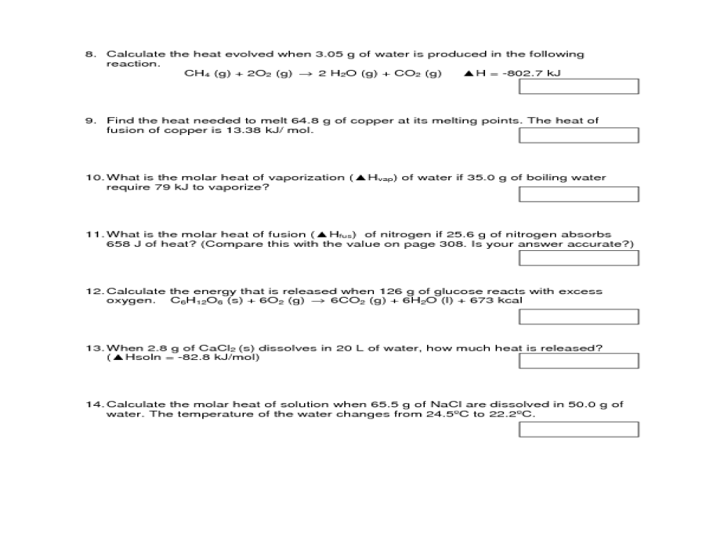 Worksheet Enthalpy Worksheet Chemistry Carlos Lomas Worksheet For