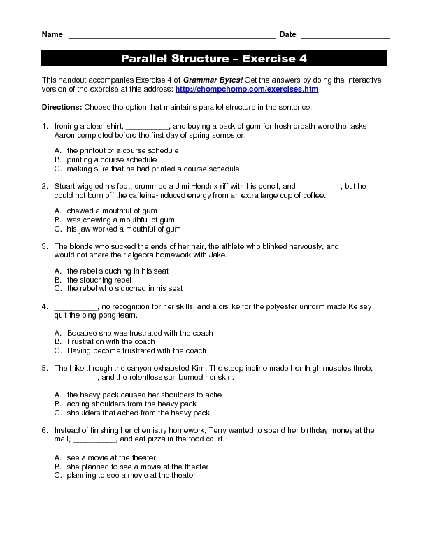 Parallelism in writing worksheets  Parallel Construction