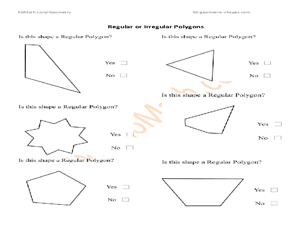 Polygon Worksheets For 5th Grade