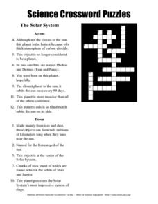 Science Crossword Puzzles - The Solar System Worksheet for ...