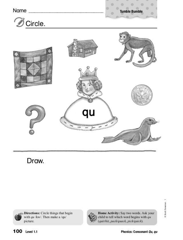 Phonics: Qu Worksheet for 1st Grade | Lesson Planet