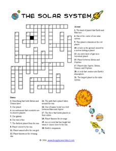 Solar System Crossword 2 Worksheet for 4th 8th Grade