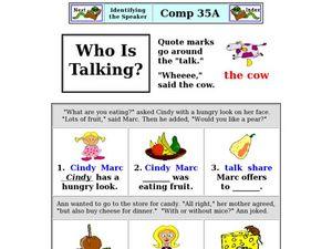 Who Is Talking: Identifying the Speaker Worksheet for 1st ...
