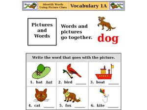 Identify Words Using Picture Clues Worksheet for ...