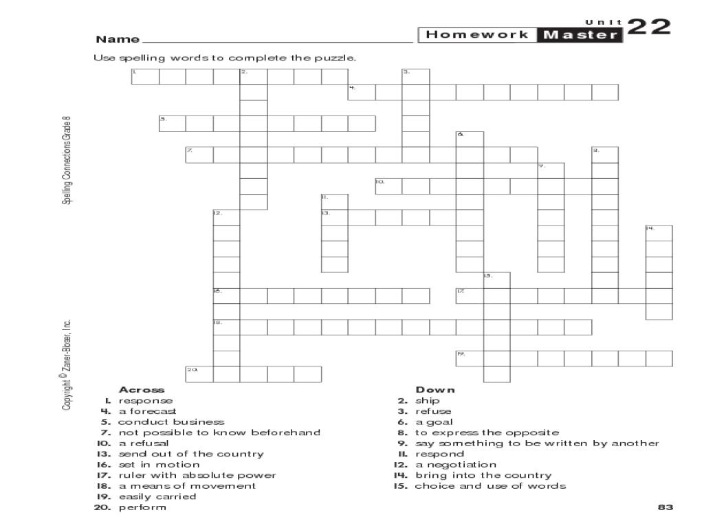 Gre T 7th Gr De M Th Crossw D Puzzles C Temp Ry W Ksheet