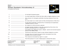 Solar System Vocabulary 2 Worksheet for 3rd - 6th Grade ...