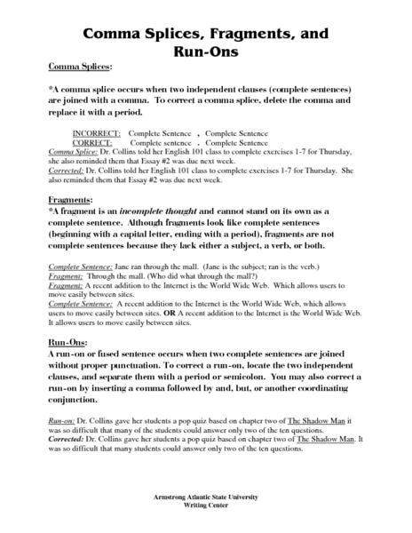 Run On Sentences Worksheet   Homeschooldressage.com