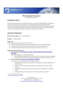 The Neolithic Revolution Lesson Plan for 5th 8th Grade