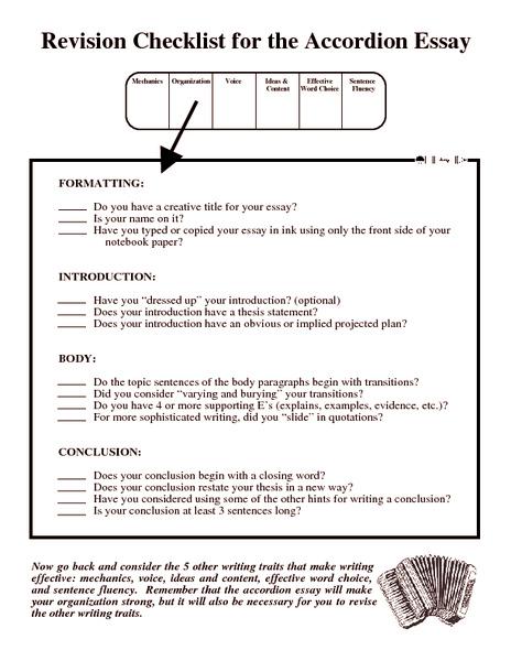 Revising essays checklist
