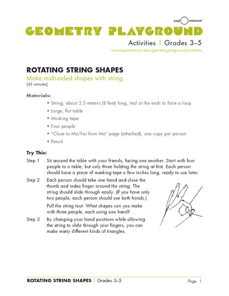 Rotating String Shapes Lesson Plan for 3rd 5th Grade
