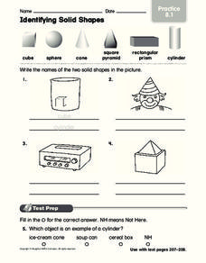 Identifying Solid Shapes Worksheet for 2nd - 3rd Grade ...
