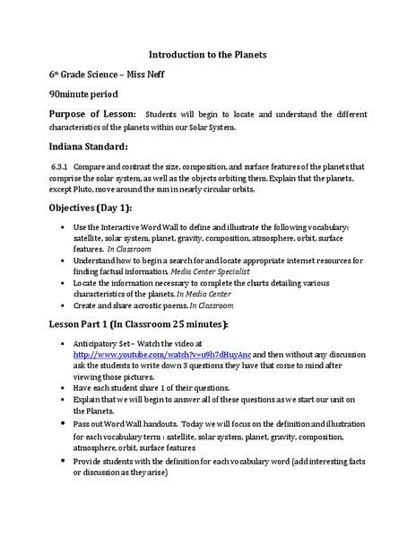 Introduction to the Planets Lesson Plan for 6th Grade ...