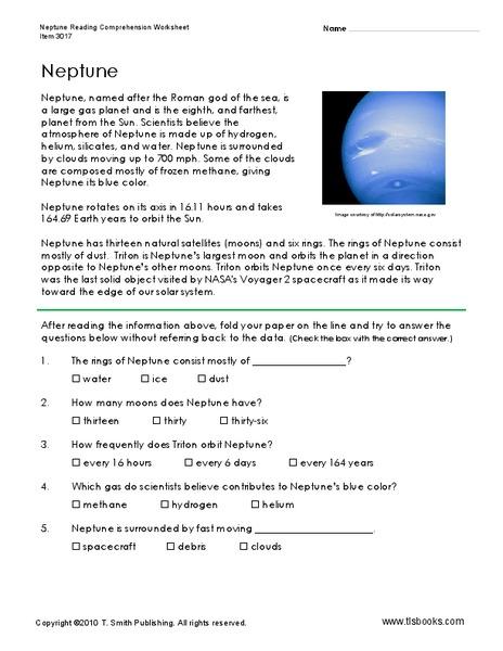 Neptune Worksheet for 3rd 5th Grade Lesson Planet