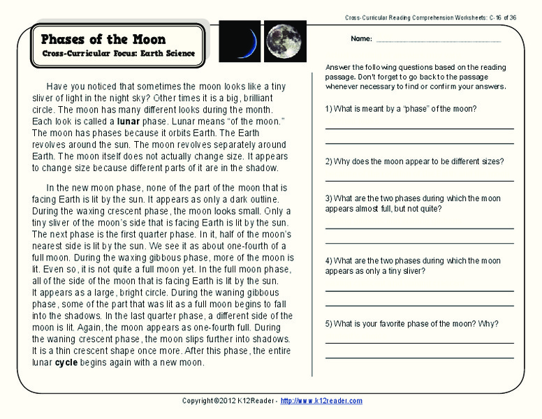 Phases of the Moon Worksheet for 2nd 3rd Grade Lesson