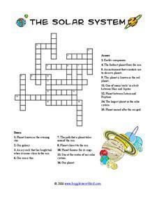 Solar System Crossword Worksheet for 3rd 6th Grade