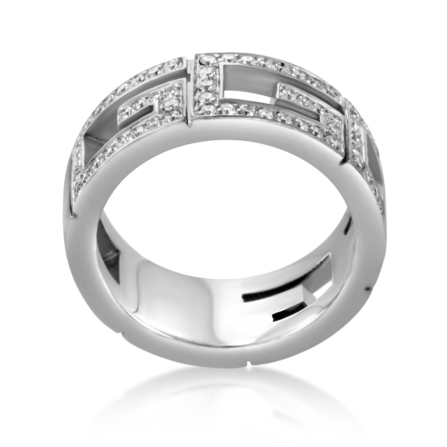 Gucci Women S 18k White Gold Diamond Cut Out Band Ring