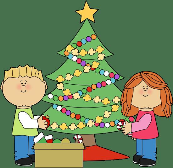 Kids Decorating a Christmas Tree