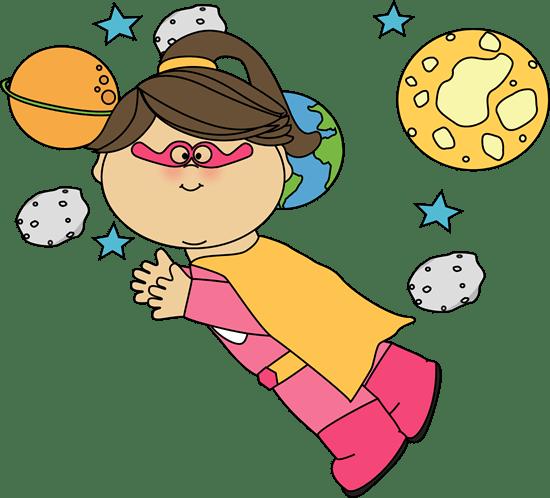 Superhero Girl Flying Through Space