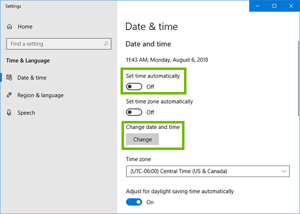 Date and time settings with set time automatically off, and change date and time highlighted.