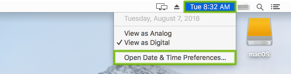 Time display with Open Date and Time Preferences highlighted.