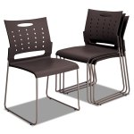 Continental Series Perforated Back Stacking Chairs Charcoal Gray 4 Ct