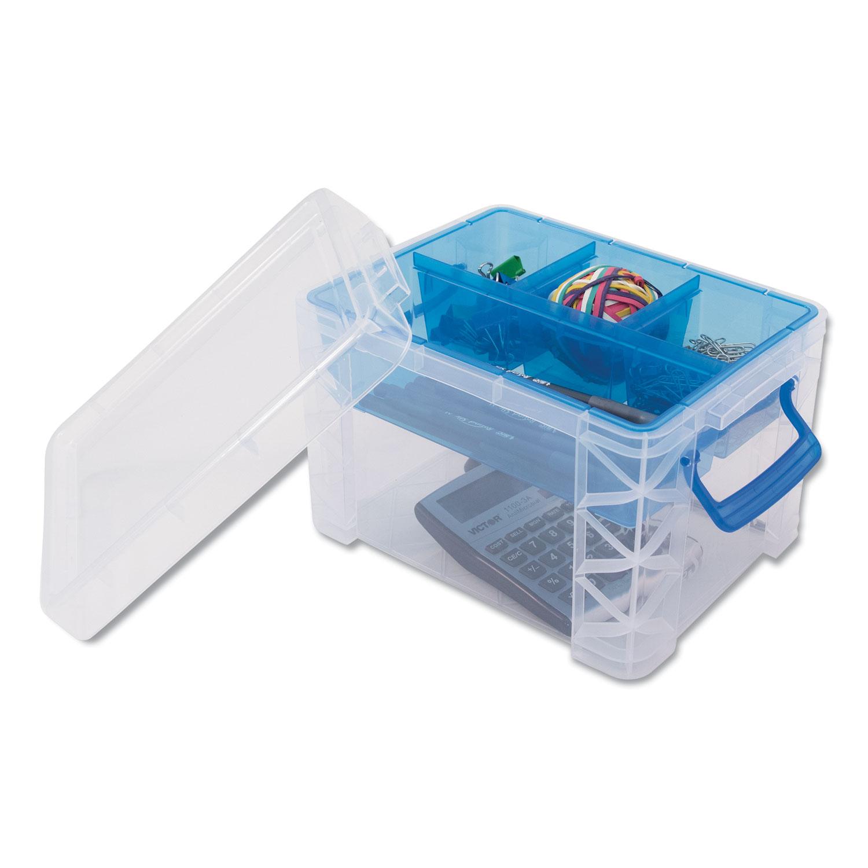 Advantus Super Stacker Divided Storage Box Clear W Blue