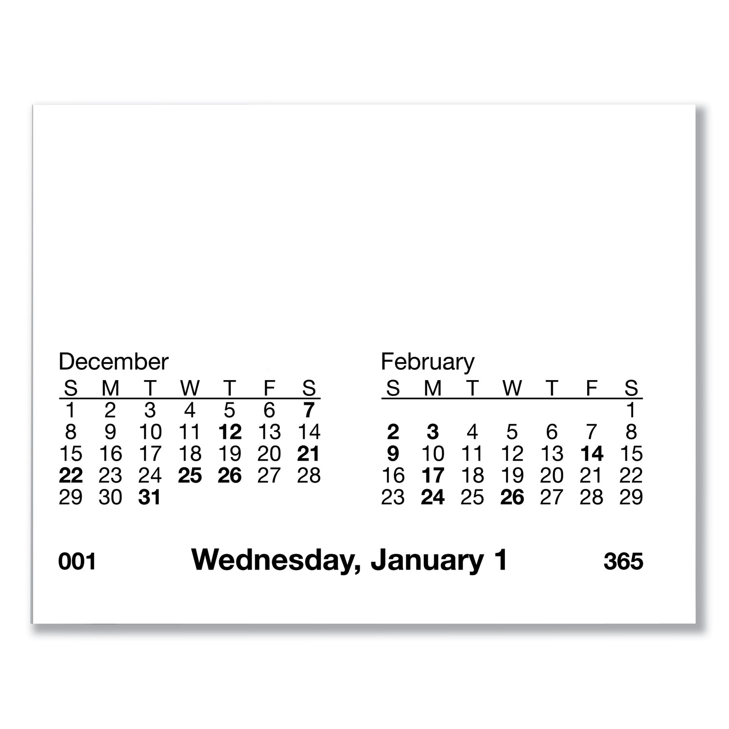 Desk Calendar Refill With Tabs 3 1 2 X 6 White