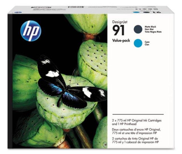 Hp 91 P2v35a Black Cyan Printhead Original Ink Cartridge Value Pack