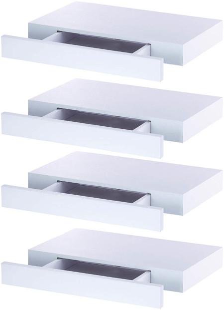 4 etageres murales avec tiroir secret blanc