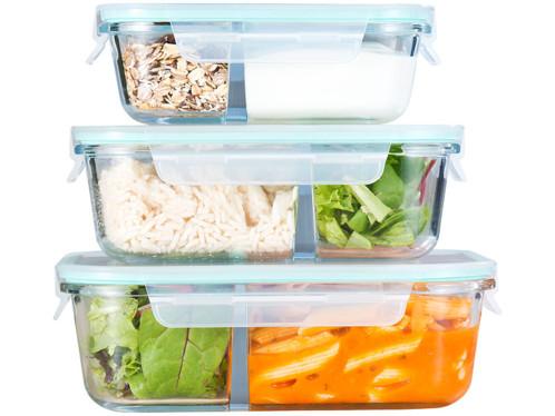 3 boites de conservation en verre a 2 compartiments