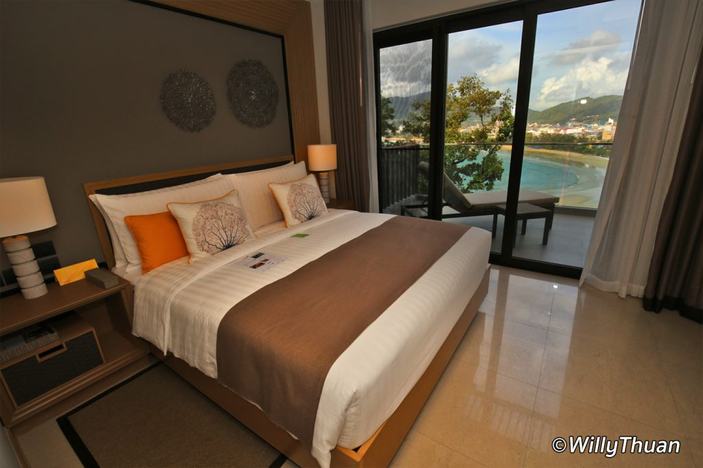 Club Suite bedroom with views of Patong Bay