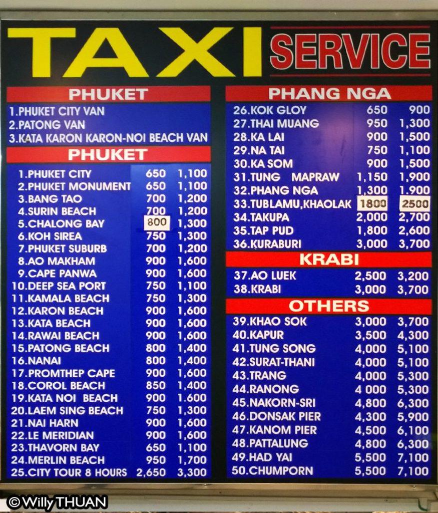 Phuket Airport Taxi Rates