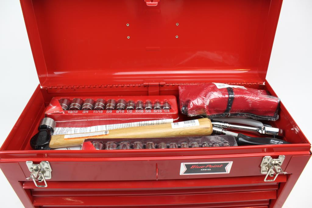 Snap On Tools Blue Point Red Metal Tool Chest With Tools 20 Pieces Property Room