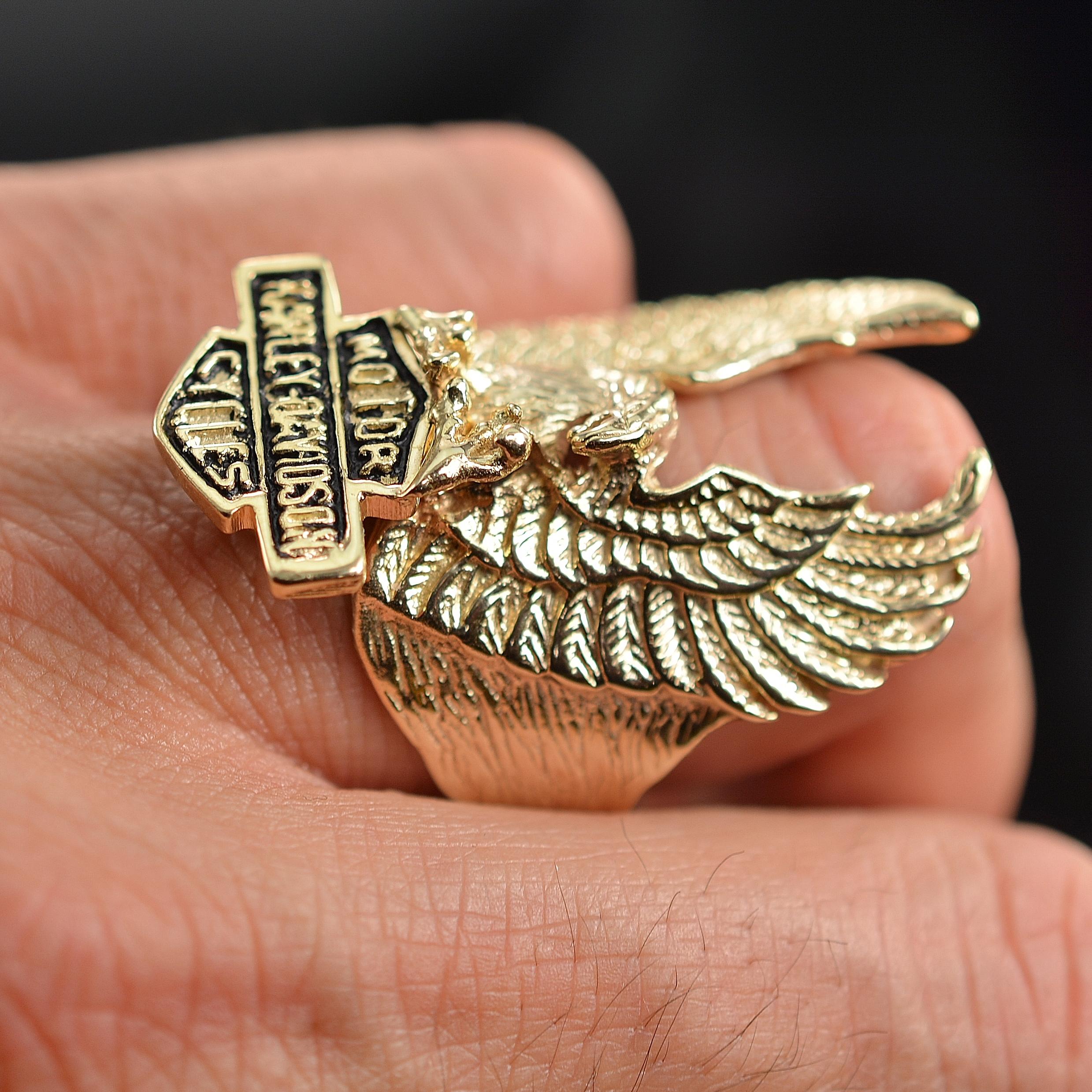 Solid 14K Gold Mens Harley Davidson Eagle Ring 1925