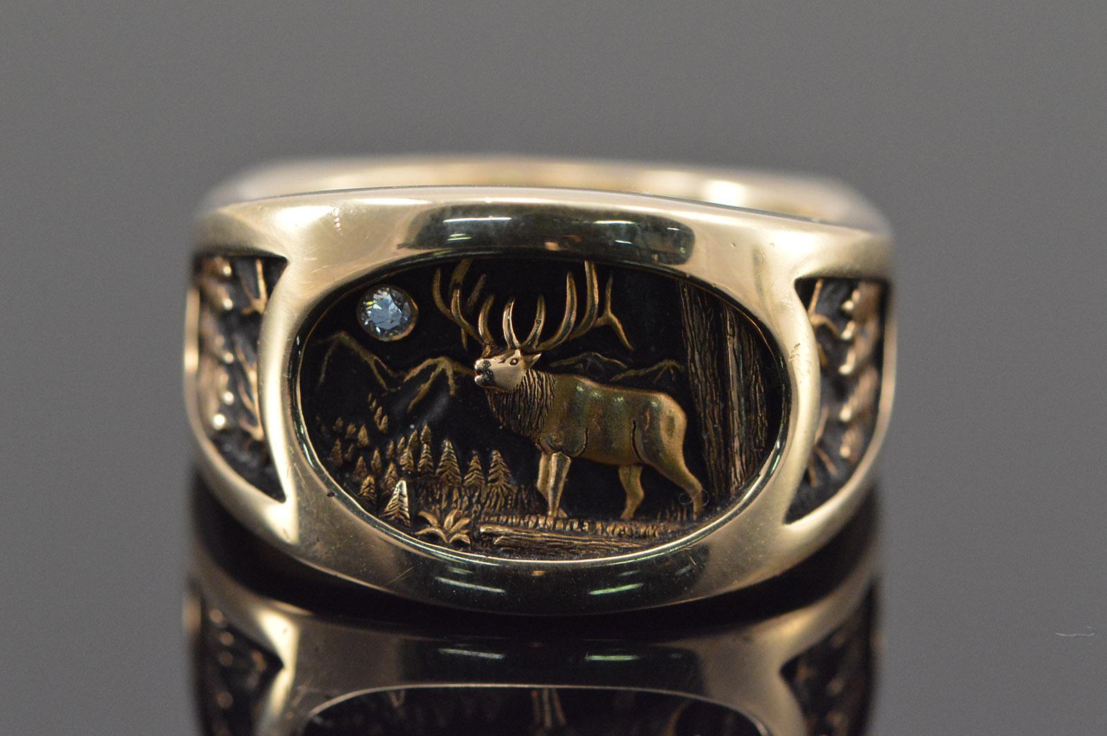 14K 249g Diamond Deer Hunting Scene 3D Mens Yellow Gold