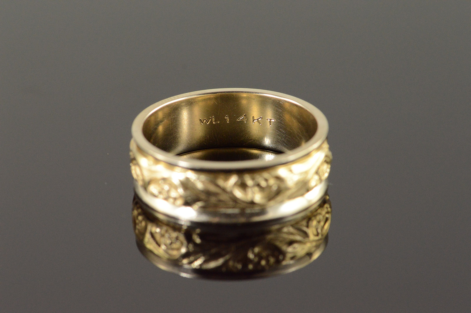 14K Fancy Scroll Two Tone Mens Wedding Band Yellow Gold