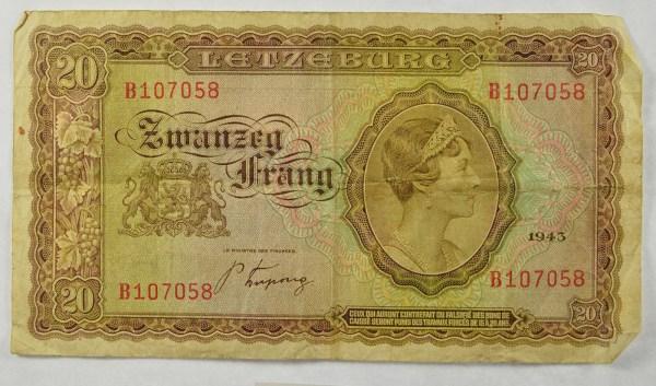 1943 Issue Letzeburg Zwanzeg Frang 20 Banknote Paper Money ...