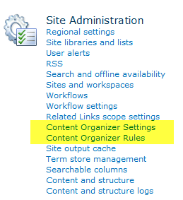 Content Organizer Site Settings