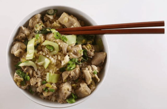 Brown Rice Bowl with Ginger-Lime Chicken and Bok Choy